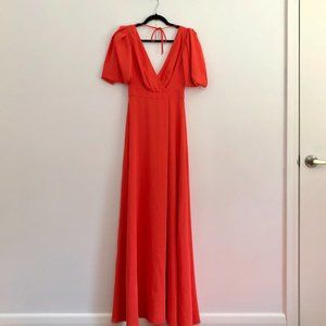 J.Crew Coral V Neck Faux Sleeves Prom Maxi Dress
